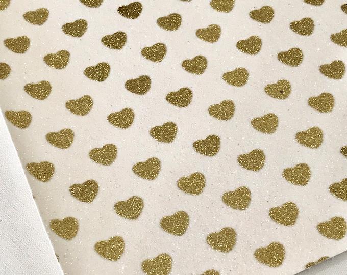 Glitter Fabric with Sparkly Glitter Love Hearts   0.7mm Fine Grade   A4 Sheet   8X11 Glitter Sheet White Gold Hearts Glitter Sheet