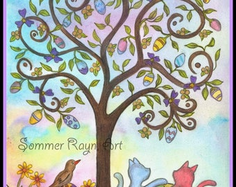 Easter Eggs, Colorful eggs in a tree with pastel Cats, silhouette card or print, Watercolor, Item #0535a