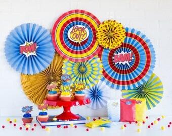 Superhero Party Fans -Pinwheel Backdrop -Paper Pinwheels -Boy Party -Super Hero Birthday Decor -Comic Book -Party Backdrop -Marvel PLCM01