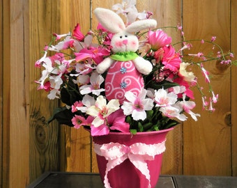 Easter arrangement, spring arrangement,  Spring floral decor, tabletop decor, pink decor, bunny decor, Easter decor, pink and white