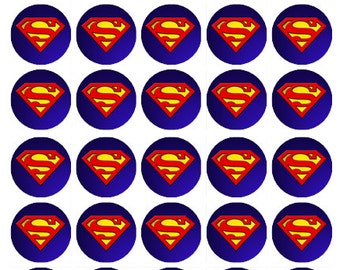Superman logo wafer paper edible cake toppers birthday decorations x 30