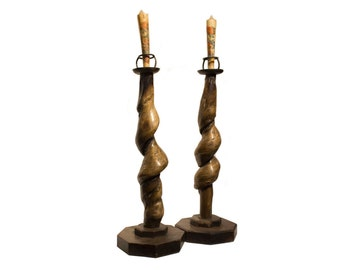 Large Wooden Candle Sticks - FREE SHIPPING