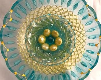 Seaside Escape Vintage Glass Garden Flower Art Sun Catcher