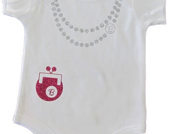 Glitter Dress up Initial Infant One Piece with Necklace and purse
