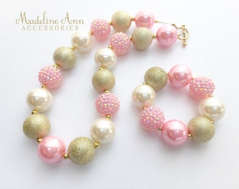 Gold and Pink Baby Necklace, Girls Bubblegum Necklace, Pink Toddler Necklace, Girls Cake Smash  Accessories, Gold Pink Chunky Bead Necklace