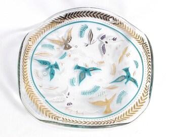 Vintage Georges Briard Blue White Gold Dove Bird Foliage Trinket Dish Plate MCM