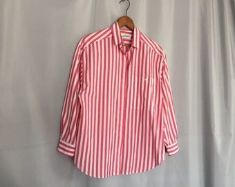 DVF Shirt Vintage Diane von Furstenberg Striped Pink and White Oxford Women's Medium