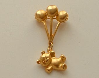 Cute brooch with balloons and dangling teddy bear