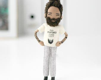 Beard and tattoo doll - Ross. Hand-size art doll made from felt. Gift for man