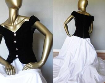 black & white gown \ full skirt \ velvet bodice