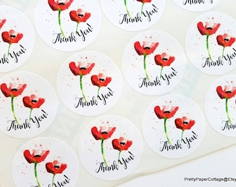 Red Poppy Stickers, Watercolor Print, Bridal Shower, Tea Party, Birthday, Thank You Stickers, Floral, Poppies, Gift Bag, 20, 2 inch Stickers