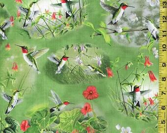 Japanese Asian Quilting Fabric - Hummingbird Scenic Gardens - Green