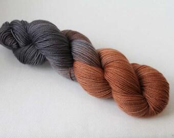 Chocolate Brownies, Hand dyed Glitter Sock yarn, 75/20/5 sw merino / nylon / silver stellina