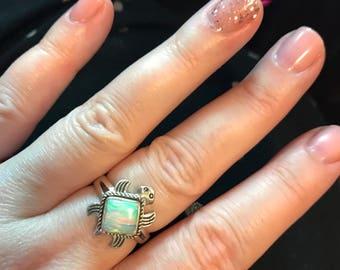 Sz. 8, Opal Turtle Sterling Silver Ring