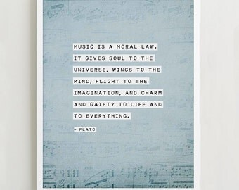 "Plato quote ""music is a moral law"" poster, inspirational quote, gifts for musicians, quote art, poetry print"