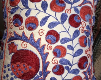 Silk suzani pillow case Real Uzbek SUZANI embroidered in Nurata, Bukhara, Samarkand, Shakhrisabz.