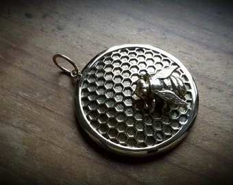 brass pendant *bee and honeycomb*