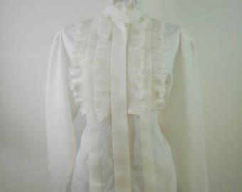 Vintage 1980s Blouse Victorian Style ruffle collar
