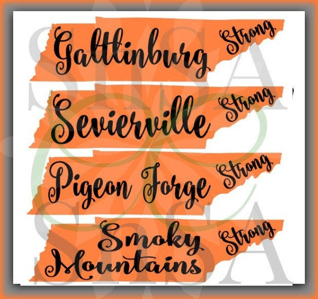 Tennesse Svg State Outline Gatlinburg Smoky Mountains