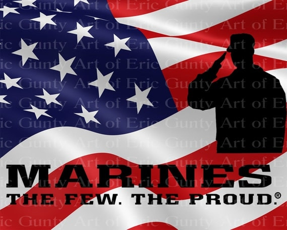 Marines American Flag Birthday - Edible Cake and Cupcake Topper For Birthday's and Parties! - D21917
