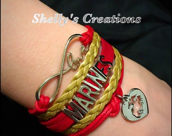 Marines Leather bracelet - red and gold Eternity love, marines. Pick- bottom charm