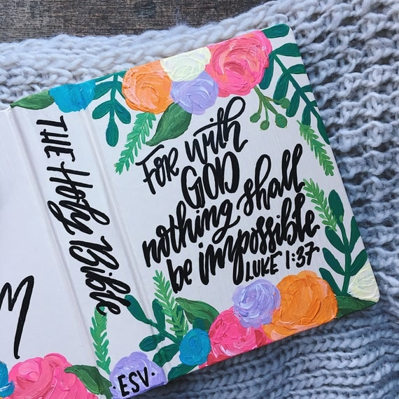 Hand painted bible, custom bible art, scripture gift,floral, bible journaling, personalized gifts,The Holy Bible,interior scripture included