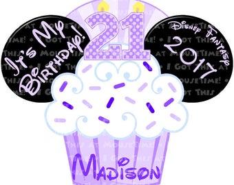 IRON-ON Birthday Cupcake Ears - Purple Version! - Mouse Ears Tshirt Transfer / Decal