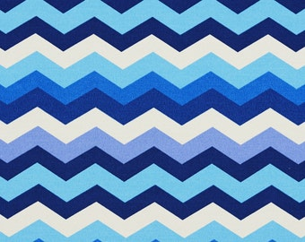 Blue and White Contemporary Chevron Flame Stitch Indoor Outdoor Upholstery Fabric By The Yard | Pattern # A209