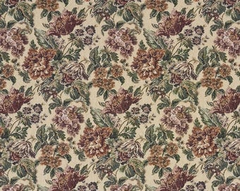 Burgundy Green And Orange Floral Tapestry Upholstery Fabric By The Yard | Pattern # F673