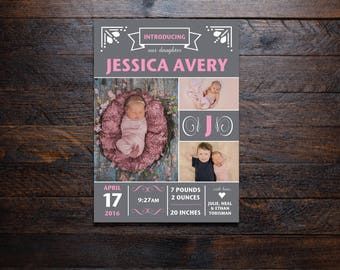 Fun Baby Girl Birth Announcements