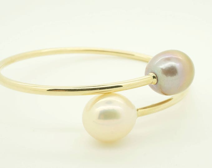 Pearl bracelet freshwater-14 K Yellow Gold-Bridal jewelry-Pearl bracelet-Anniversary present-For her-Birthday present-Pearl bracelet wedding