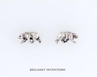 Sterling Silver Walking Bear Post or Stud Earrings