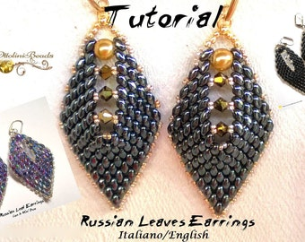 Russian leaf Earrings version 1-2-3 (with the mini DuosTutorial graphics pictures in English and English in 2 PDF files for language)