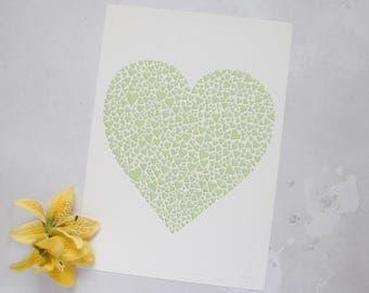 Green heart print –Wedding gift gift – sage green art– paper cut art print – love gift – greenery art – gift for wife – tropical print