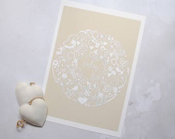Make Today Marvellous art print – cream art print – zendoodle art – papercut print – Make Today Marvellous – birthday gift – shabby chic