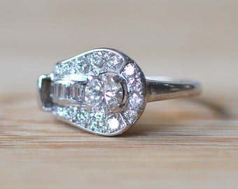 1930s Palladium Ring with a Center Diamond - Palladium Engagement Ring - 1930s Art Deco Engagement Ring - 1930s Vintage Engagement Ring