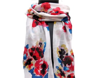 Floral scarf/ multicolored  scarf/ white scarf/ georgette scarf/ fashion  scarf/ gift scarf / gift ideas.