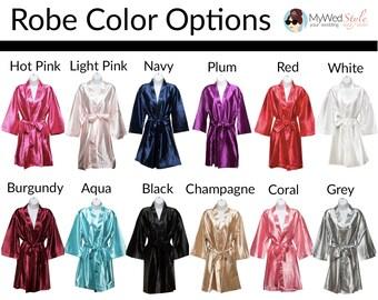Bridesmaid Robe -  Plain Robes - Bride Robe - Bridesmaid Gifts - SATIN Bridal Bridesmaid Robes - Personalized Silk Monogramed Robes