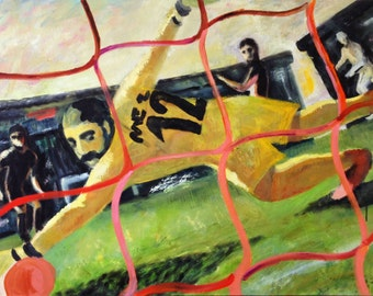 Original Sport Painting // GOAL! // Soccer Match, Dynamic art // Football Players Figures // Game // 39x31 inches