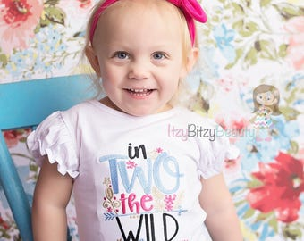 In TWO The Wild Second Birthday Shirt Embroidered Girls Turban headband ANY COLORS