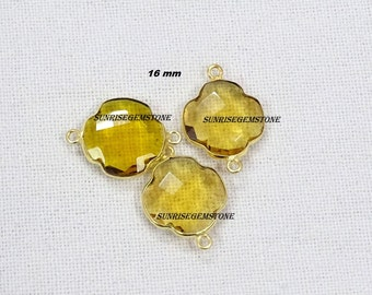 Hurry Sale 30 % Off 3 Pcs. Lot Citrine Quartz Clover Shape Hydro 16 mm 24k Gold Plated Faceted Bezel Double Bail Gemstone Charm Connector.