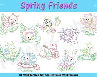 Spring friends - embroidery file set for the frame 13x18cm