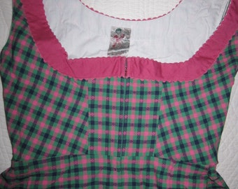SALE! Vintage European Traditional Drindl Folk Dress Green Pink Check XS S