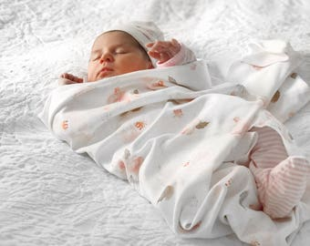 Indy Bloom Blush Rose Organic Cotton Swaddle Blanket, Baby Girl Blanket, Organic Swaddle Blanket, Baby Blanket, Watercolor Floral Flowers,