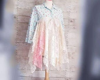 Pink Sunshine Shabby Cowgirl Funky ragdoll upcycled lace floral rustic Boho altered Clothing dress top uneven tunic art tattered lace