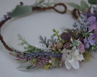 Lavender & Grayed Jade Flower Crown- Bridal Flower Crown- Lavender Wedding Halo - Photo Prop - Flower Girl Crown - Lavender and Thistle Halo