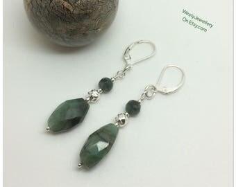 Genuine Emerald Dangly Earrings 925 Sterling Silver Earrings Genuine Emerald Earrings Emerald Genuine Gemstone Earrings May Birthstone UK