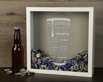 Craft Beer Typography Beer Cap Shadow Box - Beer Bottle Cap Holder, Craft Beer Bottle Cap Holder, Beer Cap Display, Craft Beer Lover Gift