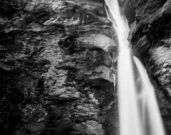 Reichenbach falls swiss Waterfall photograph, landscape switzerland sherlock holmes black and white, Giclee print, home decor, wall art,