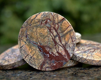 Rain Forest Marble natural stone round coasters hand crafted home decoration